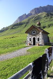 Chapel of the pass of Aravis. Symbol of the massif of Aravis Stock Photography