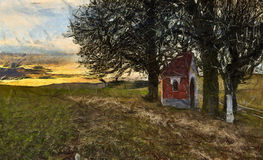Chapel on pastures. Chapel huddling under the lime trees in pastures Stock Image