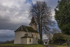 Chapel in Pivonin village near Zabreh town. In sunny autumn evening Royalty Free Stock Photo