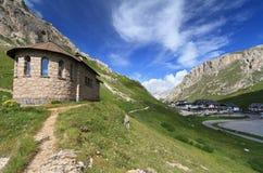 Chapel in Pordoi pass. Pordoi pass between Arabba and Canazei, Italian Dolomites Stock Photos