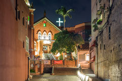 Chapel of Presbyterian Church Danshuei at night in Tamsui Royalty Free Stock Photo