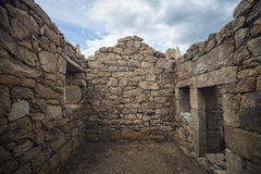 Chapel in religious stone in restoration, Portugal. Royalty Free Stock Photos