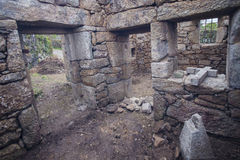 Chapel in religious stone in restoration, Portugal. Royalty Free Stock Images