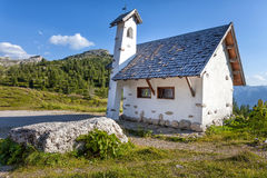 Chapel on the road in the mountains Stock Images