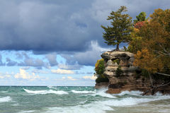 Chapel Rock and Lake Superior - Upper Peninsula of Michigan. Chapel Rock is battered by crashing waves from Lake Superior at Pictured Rocks National Lakeshore in Royalty Free Stock Image