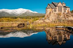 Chapel on the Rock near Estes Park in Colorado. Chapel on the Rock, Church of Saint Malo near Estes Park. Season changing from autumn to winter. Rocky Mountains Royalty Free Stock Photos
