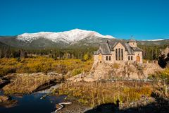 Chapel on the Rock near Estes Park in Colorado. Chapel on the Rock, Church of Saint Malo near Estes Park. Season changing from autumn to winter. Rocky Mountains Stock Image