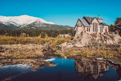 Chapel on the Rock near Estes Park in Colorado. Chapel on the Rock, Church of Saint Malo near Estes Park. Season changing from autumn to winter. Rocky Mountains Royalty Free Stock Images