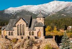 Chapel on the Rock near Estes Park in Colorado. Chapel on the Rock, Church of Saint Malo near Estes Park. Season changing from autumn to winter. Rocky Mountains Stock Photos