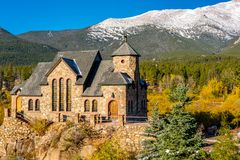 Chapel on the Rock near Estes Park in Colorado. Chapel on the Rock, Church of Saint Malo near Estes Park. Season changing from autumn to winter. Rocky Mountains Royalty Free Stock Photo