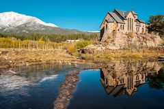 Chapel on the Rock near Estes Park in Colorado. Chapel on the Rock, Church of Saint Malo near Estes Park. Season changing from autumn to winter. Rocky Mountains Stock Photo