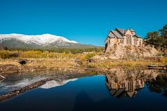 Chapel on the Rock near Estes Park in Colorado. Chapel on the Rock, Church of Saint Malo near Estes Park. Season changing from autumn to winter. Rocky Mountains Stock Photography