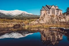 Chapel on the Rock near Estes Park in Colorado. Chapel on the Rock, Church of Saint Malo near Estes Park. Season changing from autumn to winter. Rocky Mountains Royalty Free Stock Photography
