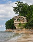 Chapel Rock Pictured Rocks Michigan. Summer day at chapel Beach Pictured Rocks National lakehsore stock photography
