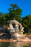 Chapel Rock in Pictured Rocks National Shore, lake Superior.  stock photography