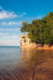 Chapel Rock, Upper Peninsula, Michigan, USA. Chapel Rock and Beach at Pictured Rocks National Lake shore, Michigan, USA Stock Image