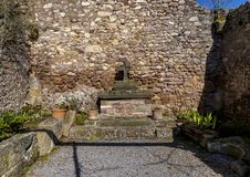 Chapel ruin with altar. Altenbaumburg Castle is the ruin of a sp stock photography