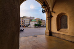 Chapel in rynek square in Krakow, Poland. Europe in the early morning Stock Photos