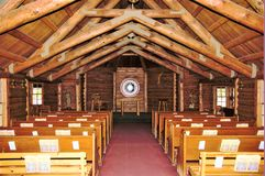 Chapel of the Sacred Heart in Moose, Wyoming and inside the Grand Teton Nation Park. royalty free stock photos