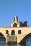 The Chapel Saint Benezet on the bridge of Saint Benezet in Avignon, France Royalty Free Stock Photo