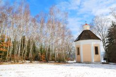Chapel of saint Karel Boromejsky in the woods. Near the town of Telc, Czech Republic Royalty Free Stock Photo
