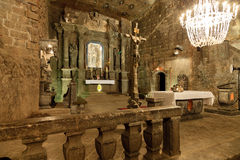 The Chapel of Saint Kinga in Wieliczka, Poland. Wieliczka Salt Mine operated continuously since the 13th century. Underground Mine has over 300 corridors and Royalty Free Stock Photography