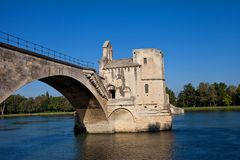 Chapel of Saint-Nicolas on Saint-Benezet bridge. Avignon, France Royalty Free Stock Images