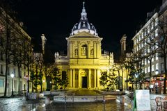 Chapel of Sainte Ursule. Paris, France. February 11, 2018. The chapel of the Sorbonne University at night royalty free stock photo