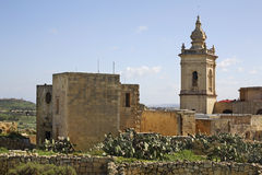 Chapel of San Giuseppe and Cathedral of Assumption in Victoria. Gozo island. Malta.  Royalty Free Stock Photos