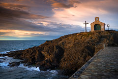 Chapel at the seashore of south France Royalty Free Stock Photo