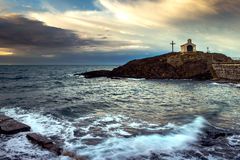 Chapel at the seashore of south France Royalty Free Stock Images
