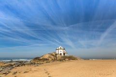 Chapel Senhor da Pedra, Miramar, Atlantic ocean Royalty Free Stock Photo