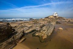 Chapel Senhor da Pedra at Miramar Beach, Atlantic ocean near Porto Royalty Free Stock Photos
