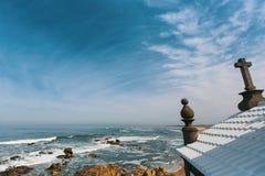Chapel Senhor da Pedra at Miramar Beach, Atlantic ocean, Porto Stock Images