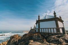 Chapel Senhor da Pedra at Miramar Beach, Atlantic ocean, Porto Royalty Free Stock Photos