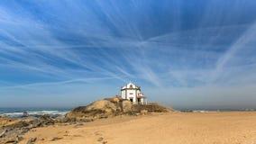 Chapel Senhor da Pedra at Miramar Beach, Atlantic, Porto Stock Photos
