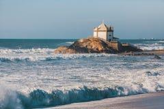 Chapel Senhor da Pedra on Miramar Beach Praia de Miramar, Vila Nova de Gaia Royalty Free Stock Images