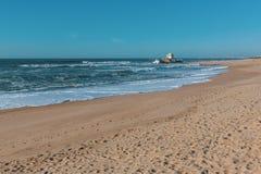 Chapel Senhor da Pedra on Miramar Beach Praia de Miramar, Vila Nova de Gaia Stock Photo