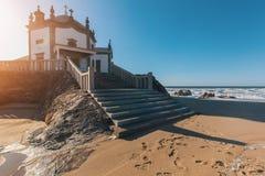 Chapel Senhor da Pedra on Miramar Beach Praia de Miramar, Vila Nova de Gaia Royalty Free Stock Photos