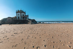 Chapel Senhor da Pedra on Miramar Beach Praia de Miramar, Vila Nova de Gaia. Stock Photos