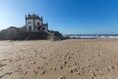 Chapel Senhor da Pedra on Miramar Beach, Vila Nova de Gaia Royalty Free Stock Image