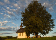 Chapel in the shade of linden Royalty Free Stock Images