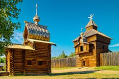 The chapel in Siberian village. Closeup. Ethnographic Open-Air Museum `Taltsy`. Wooden architecture Russia. Lake Baikal. Russia royalty free stock photo