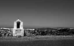 Chapel. A chapel by the side  of the road in Cyclades - Greece Stock Photo