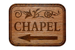 Chapel Sign. THis way to the chapel Stock Images