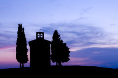 Chapel silhouette in Tuscany Royalty Free Stock Image