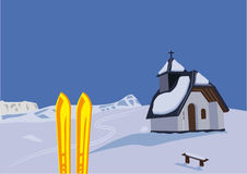 Chapel and skis royalty free stock images