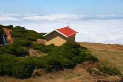 Chapel in the sky. A small chapel in the mountains in Madeira Royalty Free Stock Photos