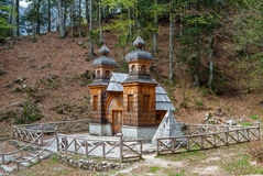 Chapel in Slovenia. The wooden Russian Chapel, built by war prisoners in World War I, near Kranjska Gora, Slovenia Stock Photo
