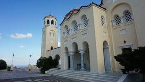 Chapel in small greece village pyrgos on santorini Stock Photo